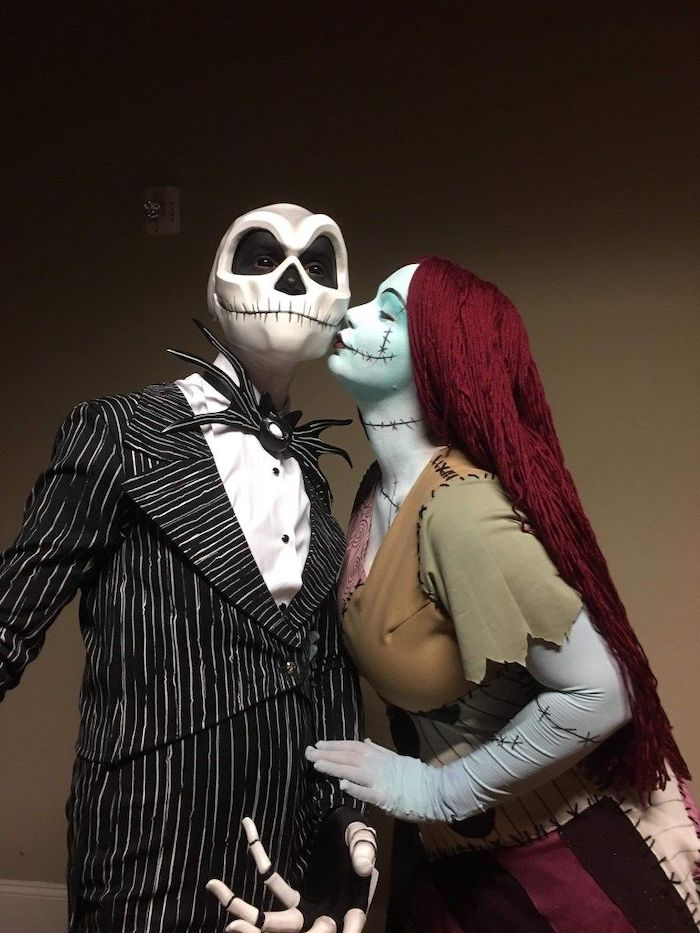 jack skellington and sally, man and woman, diy halloween costumes, nightmare before christmas