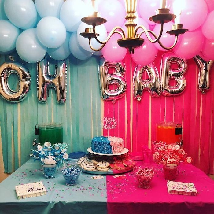 pink and blue balloons, gender reveal ideas for family, pink and blue and cake, dessert table