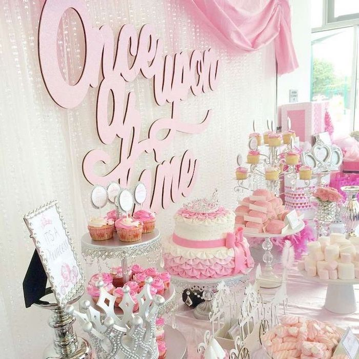 once upon a time, white and pink tulle, dessert table, twi tier cake, baby shower decoration ideas for girl