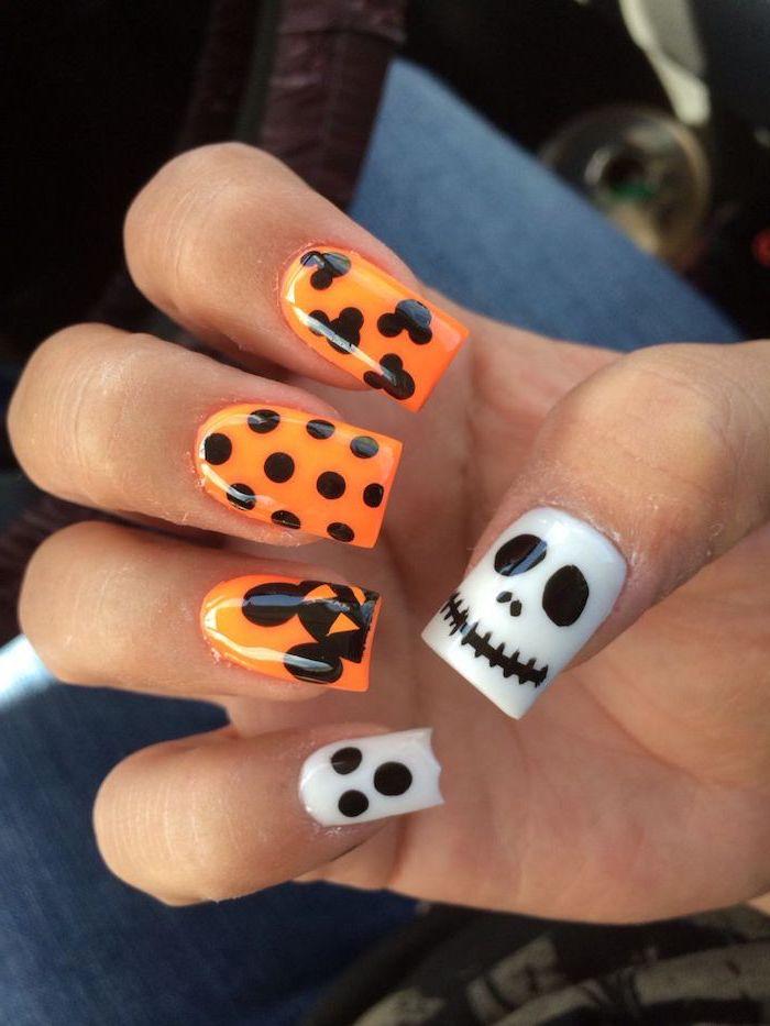 orange and white, nail polish, black skull and ghost decorations, cute acrylic nail ideas, square nail