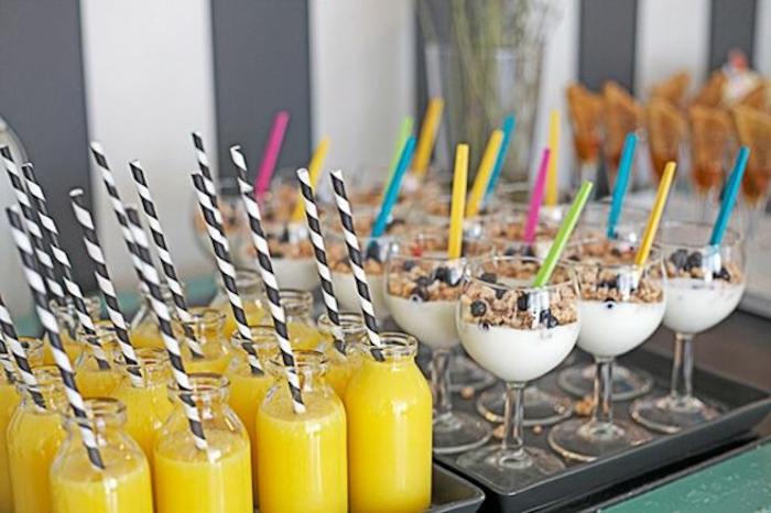 orange juice, yoghurt and granola, with blueberries, birthday breakfast ideas, silver trays