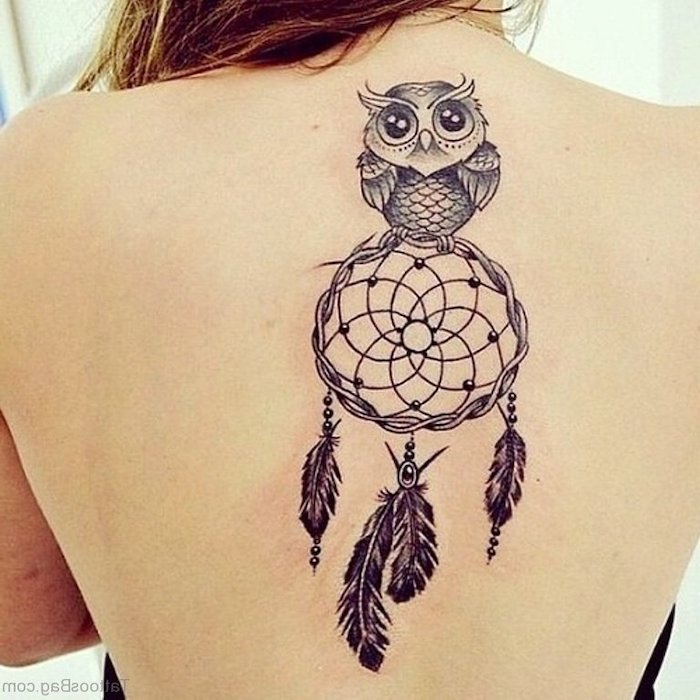 owl on top of dreamcatcher, back tattoo, white background, dream catcher tattoo design