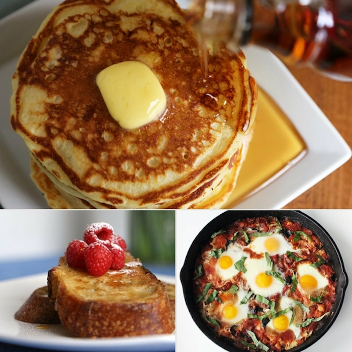 pancakes with butter and honey, breakfast and brunch, eggs with tomato sauce, photo collage
