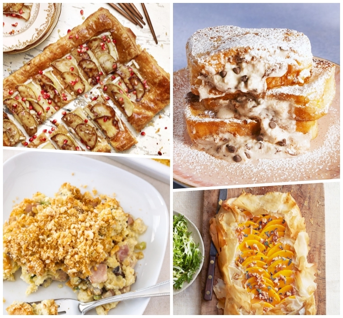 brunch appetizers, photo collage, baked pastries, with different fruits, egg casserole, with ham