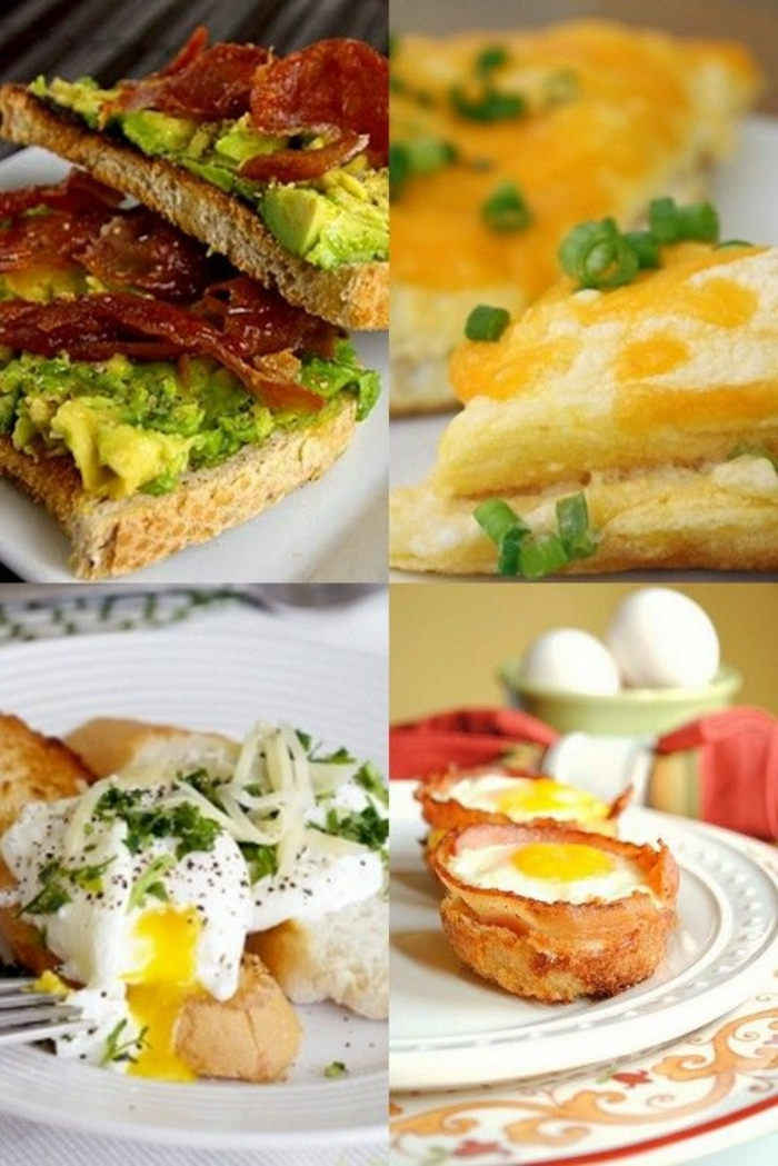 photo collage, avocado toast, poached eggs, egg and bacon, white plates, brunch appetizers