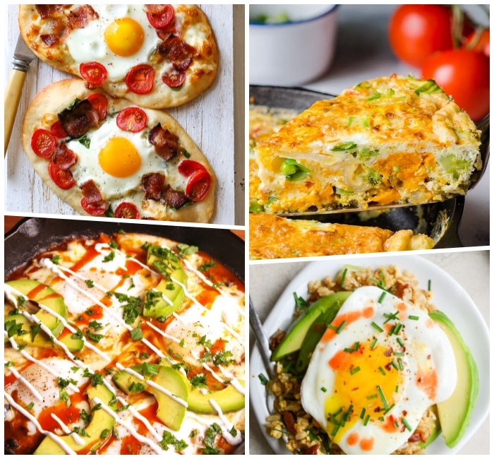 brunch appetizers, photo collage, baked pastries and casserole, dishes with eggs and avocados