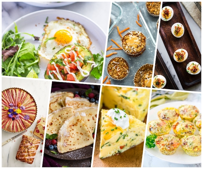 dishes with eggs, pancakes and cakes, avocado with filling, photo collage, brunch ideas for a crowd
