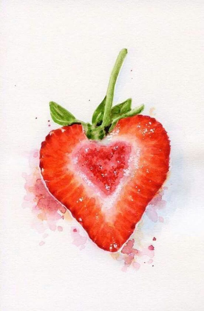 white background, traceable pictures, drawing of a strawberry, green and red paint