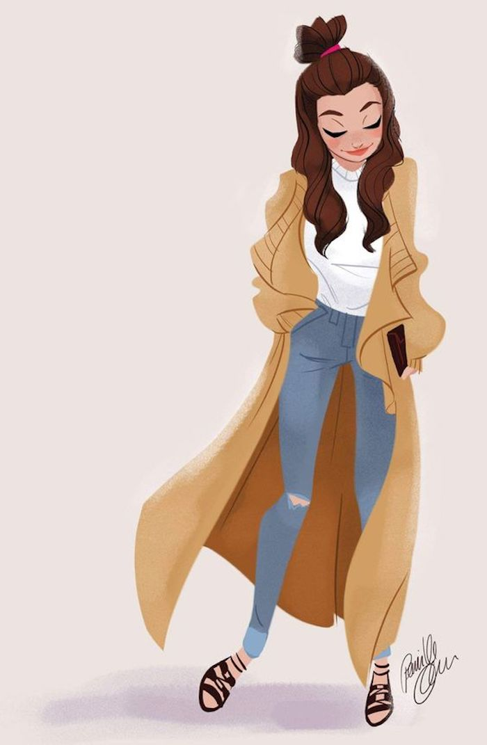 white background, pics to draw, girl wearing jeans, white blouse, long brown coat