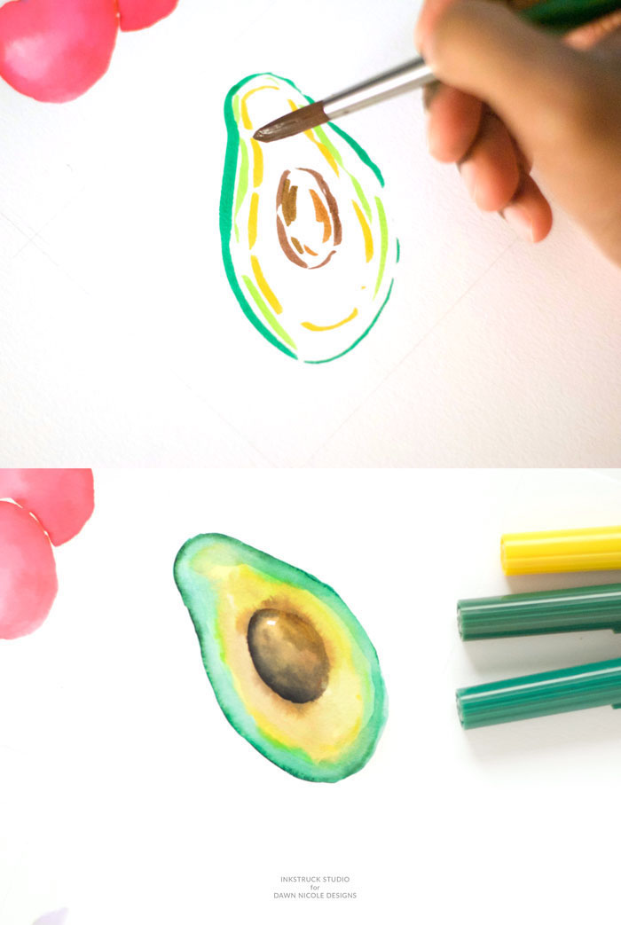 green and yellow markers, how to draw an avocado, images to draw, step by step, diy tutorial