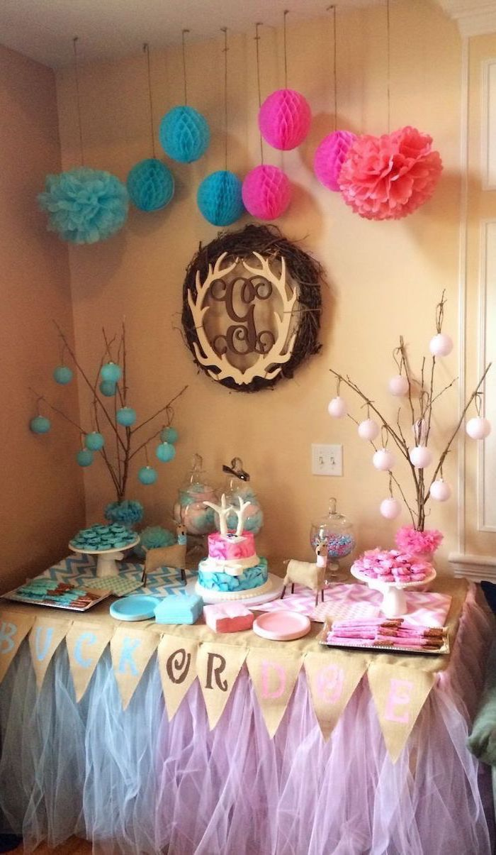 pink and white tulle, dessert table, gender reveal pinata, pink and white decorations