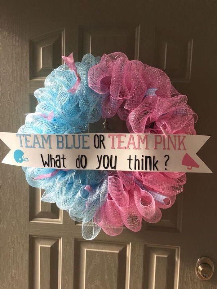 pink an blue, tulle wreath, team blue, team pink, unique gender reveal party ideas