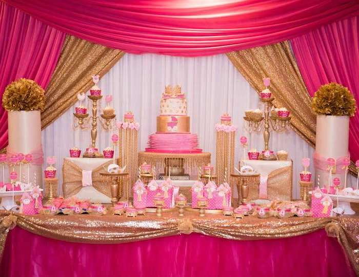 pink and white tulle, gold sequins, gold and pink theme, baby shower table decorations, three tier cake