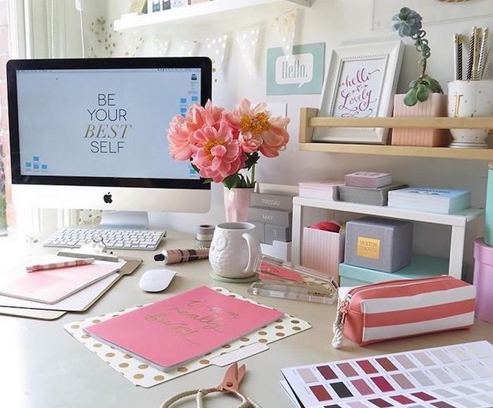 lots of notebooks, on a white desk, wooden desk organiser, cool office decor, desktop computer