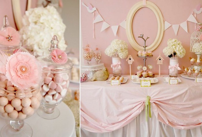 candy jars, dessert table, side by side photos, baby shower themes, pink decorations, little bird theme