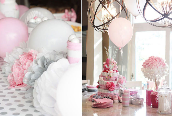 side by side photos, pink and white balloons, pink and gold baby shower, diaper cake, paper flowers