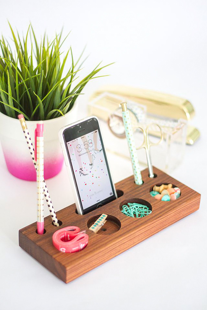 wooden desk organiser, phone holder, potted plant, cool office decor, white desk, gold desk accessories