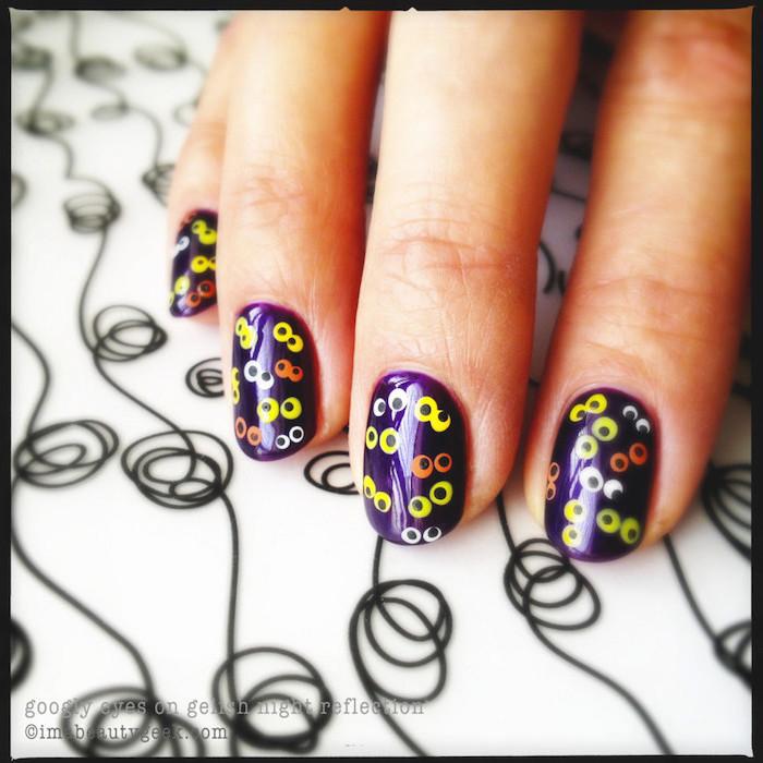 squoval nails, purple nail polish, cute fall nails, black and white, orange sets of eyes, spooky eyes