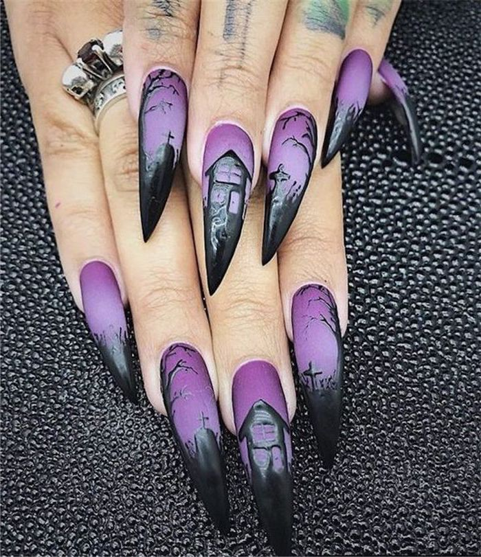 october nails, purple nail polish, black cemetery decorations, haunted house, long stiletto nails, black leather table