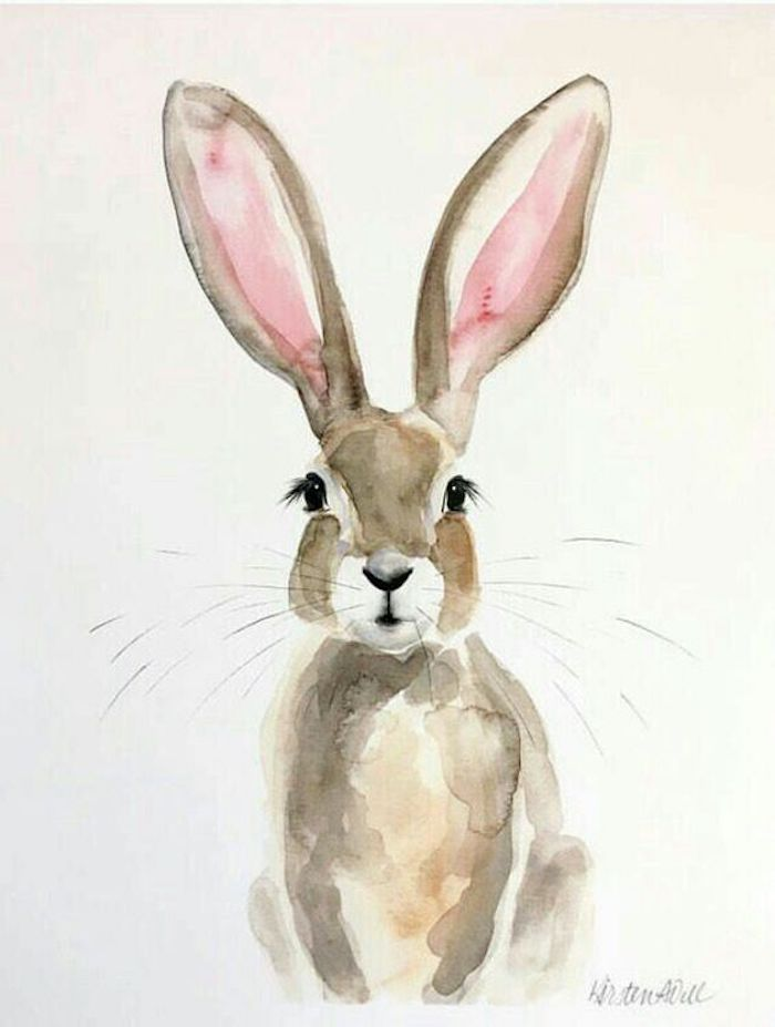 cute rabbit, large pink ears, pictures of drawings, white background