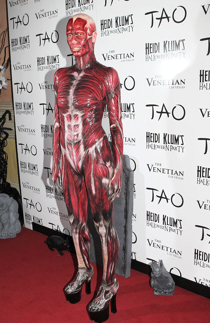 funny halloween costumes, heidi klum, dresses as a skinless body, wearing heels, body paint