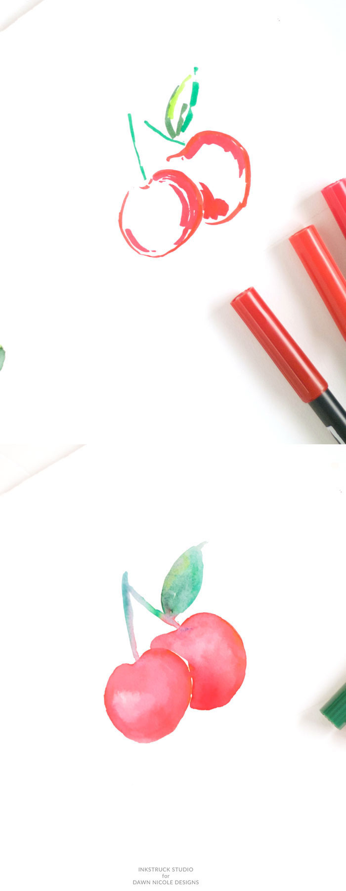 how to draw a cherry, step by step, diy tutorial, images to draw, red markers