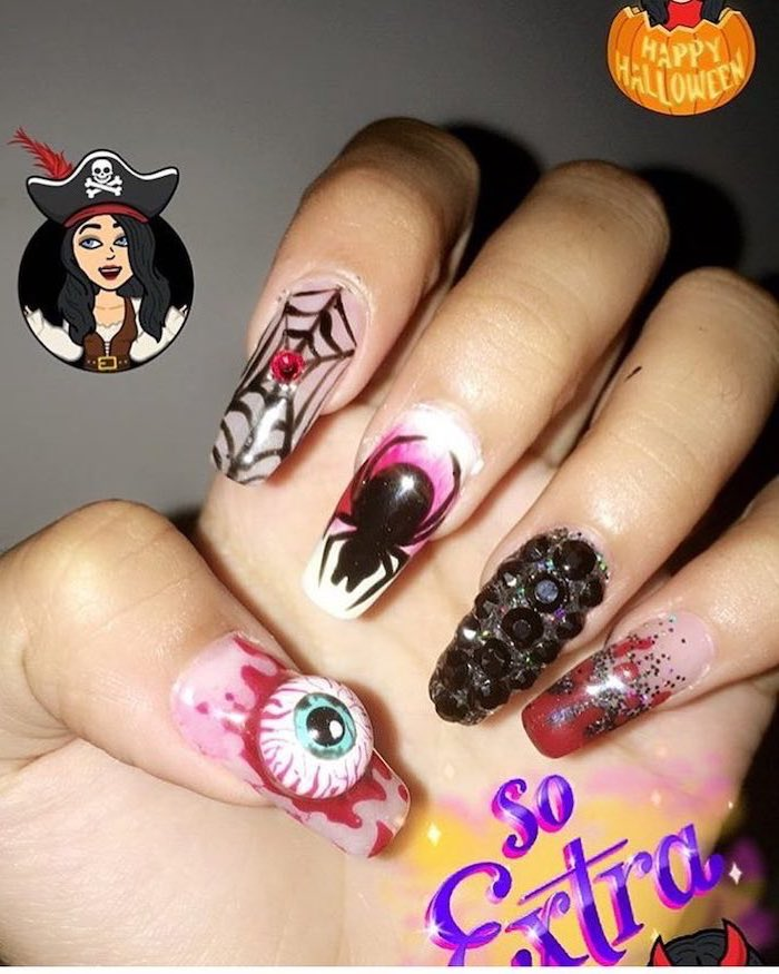 long squoval nails, october nails, spider webs, eyes and spiders decorations, black rhinestones