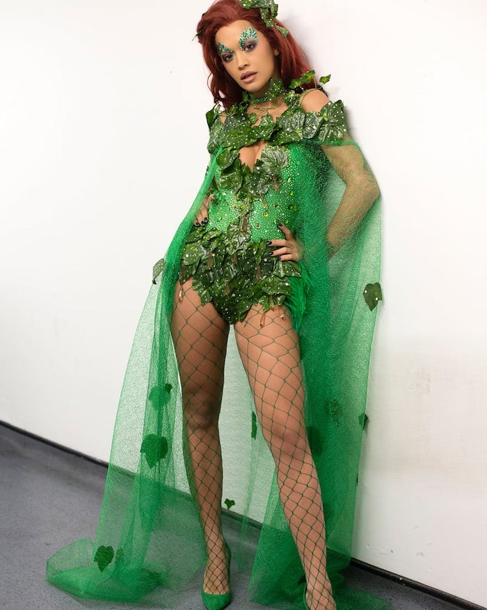 rita ora, dressed as poison ivy, funny halloween costumes, red wig, green tulle, white background