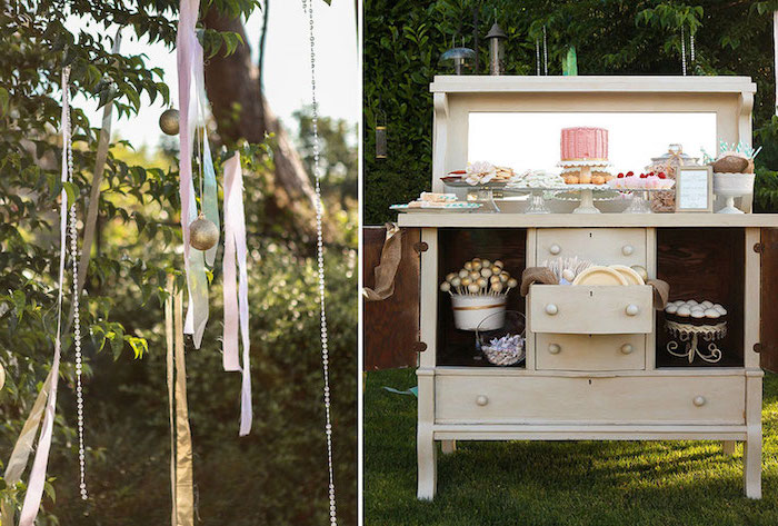 places to have a baby shower, rustic decor, wooden table, hanging decorations, cake pops