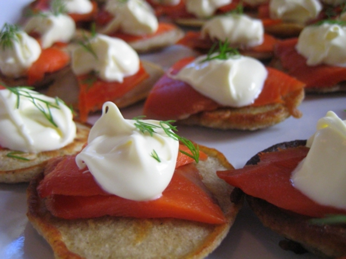 small bites, with salmon fillet, sour cream and chives, brunch ideas for a crowd