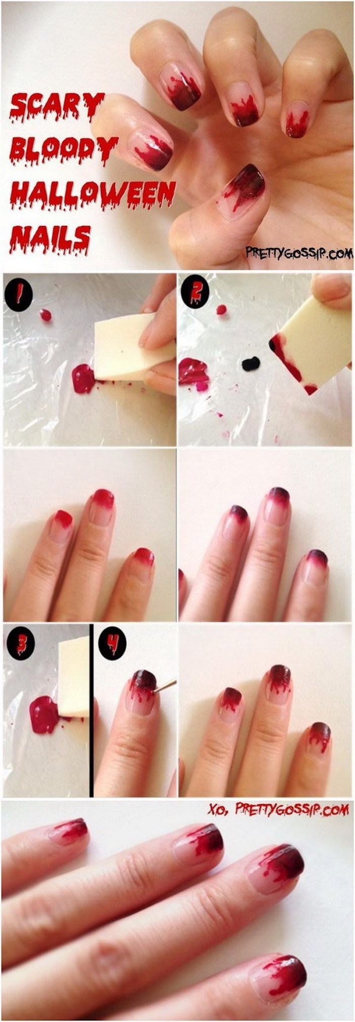 scary bloody halloween nails, step by step, diy tutorial, candy corn nails, red nail polish