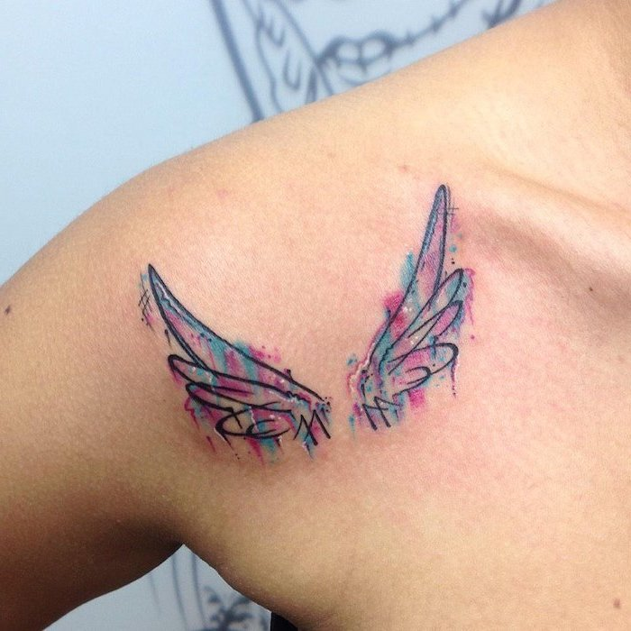 shoulder tattoo, wings chest tattoo, watercolor tattoo, blue and pink colors, white background