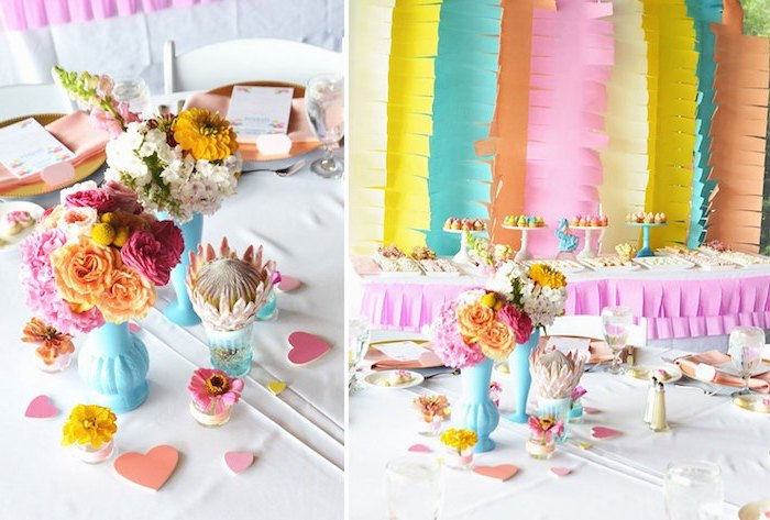 colorful decor, paper garlands, flower bouquets, places to have a baby shower, table setting, dessert table