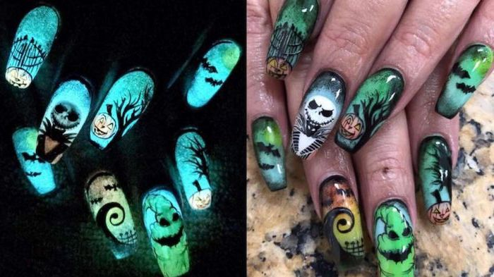 glow in the dark, nightmare before christmas, nail design, october nails, long squoval nails