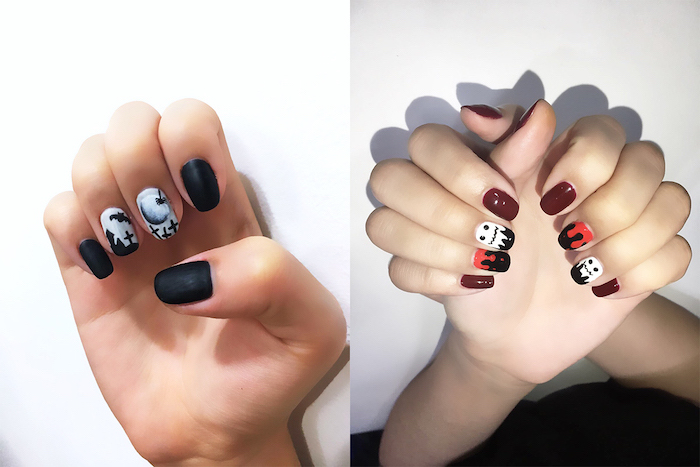 side by side photos, candy corn nails, black matte nail polish, cemetery decorations, squoval nails