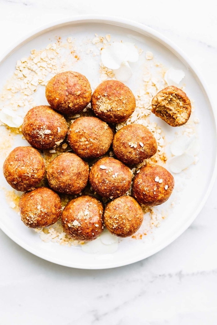white plate, brunch recipe ideas, small bites, marble countertop