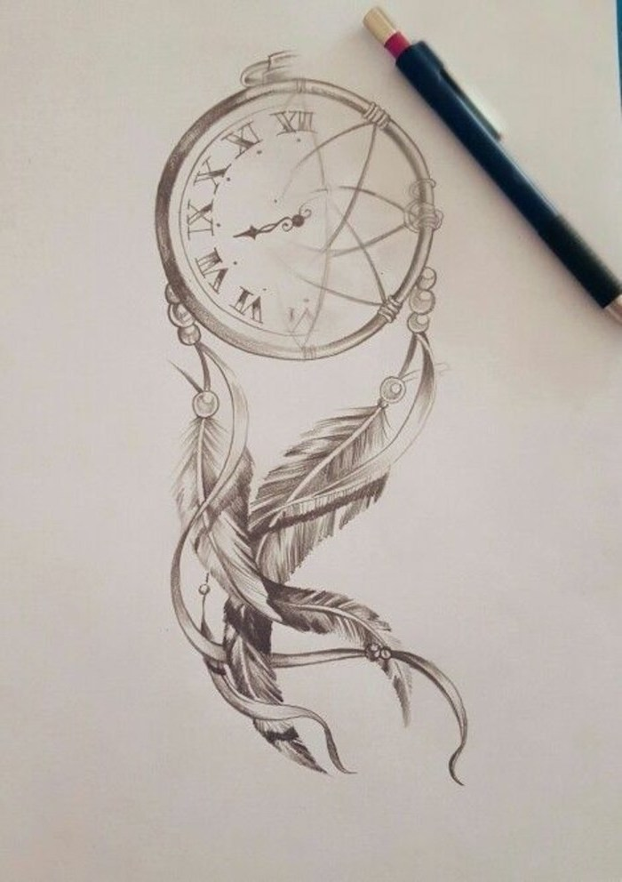 black and white drawing, dream catcher tattoo on back, stop watch, black pencil