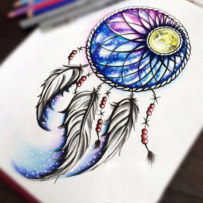 dream catcher tattoo on back, watercolor drawing, purple pink and blue colors, white paper