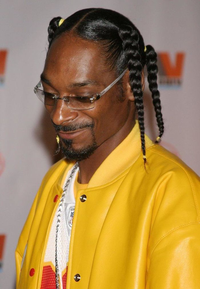 snoop dogg, wearing a leather yellow jacket, black hair, braids hairstyles 2019, white t shirt