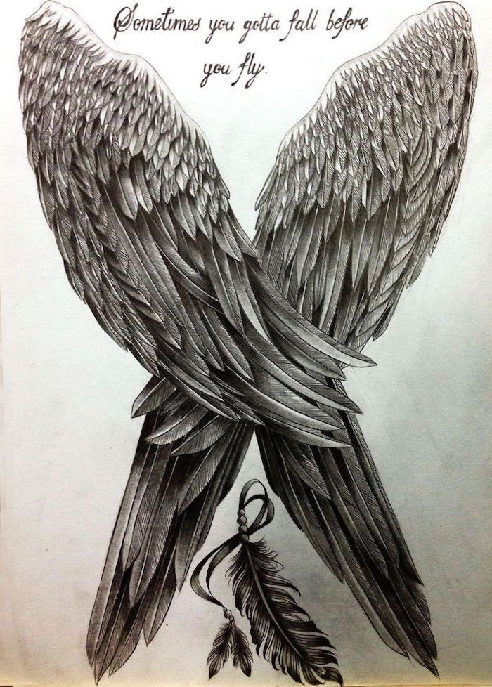 sometimes you gotta fall before you fly, cross with wings tattoo, black and white, pencil sketch, angel wings
