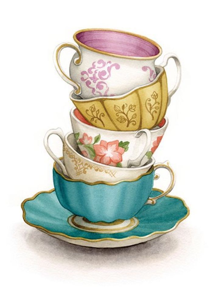 vintage tea cups, in different colors, tracer drawing, white background