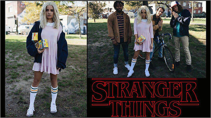 stranger things characters, eleven and mike, dustin and lucas, famous halloween characters, eggo waffles