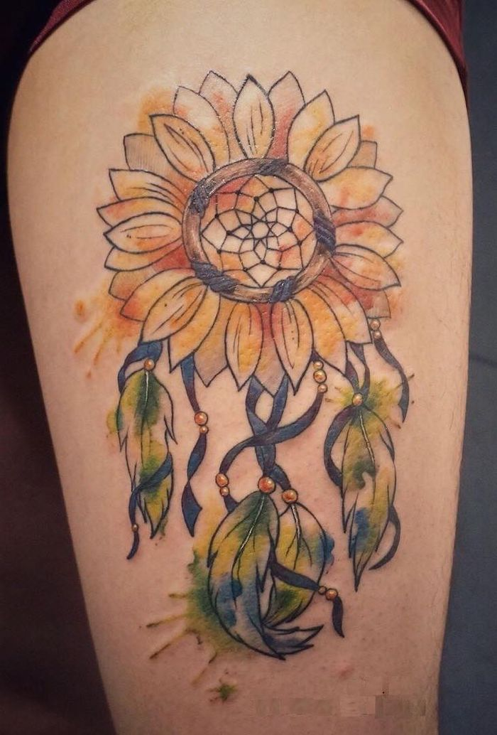 sunflower dreamcatcher, watercolor tattoo, thigh tattoo, dream catcher tattoo on back, dream catcher watercolor tattoo