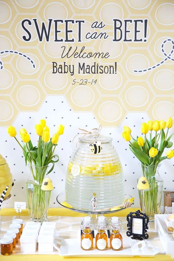 sweet as can bee theme, yellow tulips bouquet, places to have a baby shower, large lemonade stand