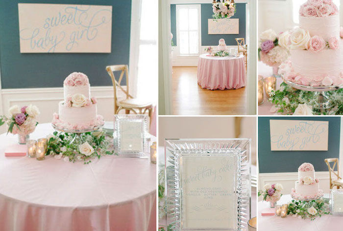photo collage, minnie mouse baby shower, two tier cake, flower bouquets, sweet baby girl