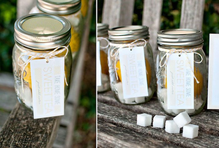 sweet tea, party favor, deconstructed in a mason jar, minnie mouse baby shower, wooden table