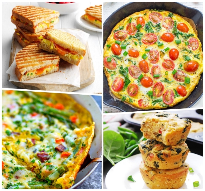 photo collage, baked casserole, toast sandwiches, egg muffins, things to make for breakfast