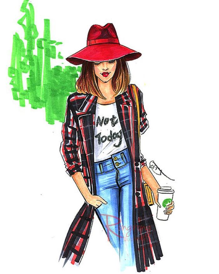 girl wearing jeans, white shirt, long coat, red hat, holding a coffee cup, pics to draw
