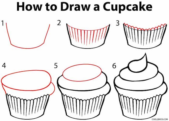 how to draw a cupcake, photo to line drawing, step by step, diy tutorial