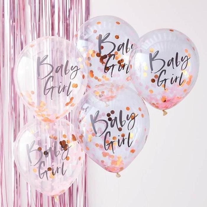 baby girl, transparent balloons, gold confetti inside, baby shower themes for girls, pink garland